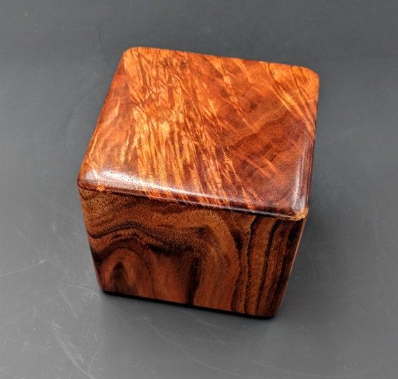 "Curly Hawaiian Koa  Pet or Infant Small Cremation Urn  4 3/4"" x 4 1/4"" x 4""  Custom Handmade Urns Ashes Memorial Keepsake Urn SK061018-A"