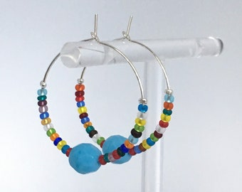 Turquoise earrings, Silver plated hoop earrings with turquoise and multicolour glass beads