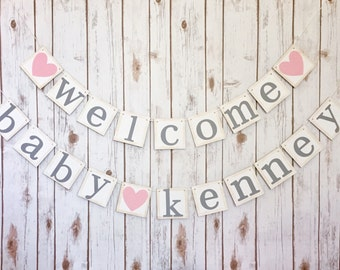 WELCOME BABY BANNER, baby name banner, welcome baby sign, welcome baby boy, welcome baby girl, welcome baby name banner, welcome baby