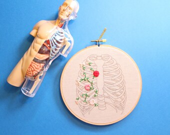 Floral Rib Cage Hand Embroidery Wall Hanging, Hoop Art, needlework, Anatomy Art, Body Parts, Home Decor, Decoration, 6 inch hoop, Medical