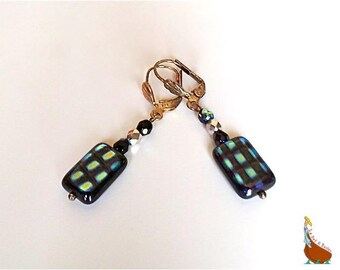 """Short earrings """"Checkerboard"""" and """"Mesh"""" blue Ultramarine metallic silver 2 models graphic beads"""