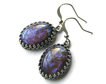Tanzanite Fire Opal Earrings