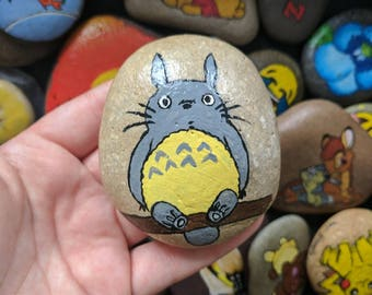 Cute Totoro character painted pebble stone Japanese gift idea detail
