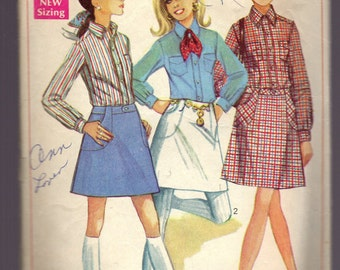 Simplicity 8099 Vintage Skirt & Shirt Sewing Pattern Size 10