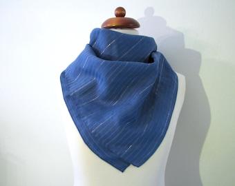 70s Blue Silver Shimmering Striped Scarf // Vintage Scarf