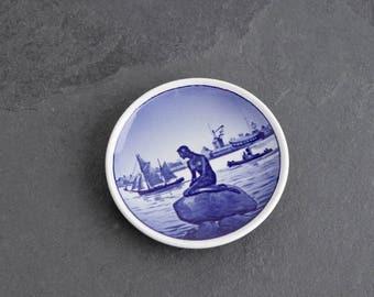 Vintage Langelinie Little Mermaid Ring Dish, Blue Mermaid on Rock, Royal Copenhagen Butter Pat Dish