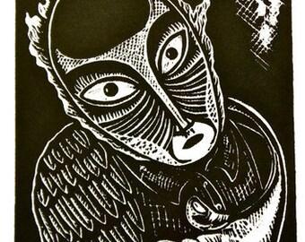 """Feeling Empathy, Bird Man on Fire - Unique Wood Cut Print """"Empathy"""""""