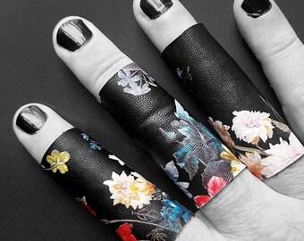 Midnight bloom print vegan leather ring long and regular length ring - size 6 Rannka