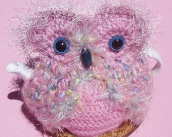Owl Teacosy in fanciful varigated pink mohair and acrylic yarn 3 - 4 cups