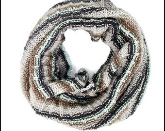 Hand-Knit Nature Striped Cowl