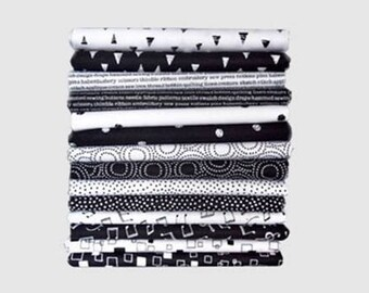 Monochrome Black and White  - 14 x FQ Bundle