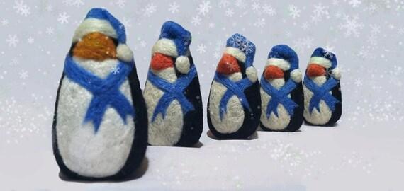 Christmas Tree ornament, felt penguin ornament, Holiday decor blue black white penguin ornament bowl filler, wool felt penguin bird plushie