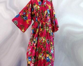 Kimono dressing gown cotton Shalimar flowers fuchsia