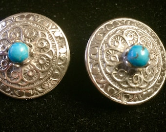 Vintage Turquoise and Silver Hallmarked Patterned Clip On Earrings