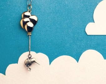 Daydreaming Kiwi Necklace, Flying Away on Balloons and Completely Handmade in Sterling Silver, Gold, or Bronze