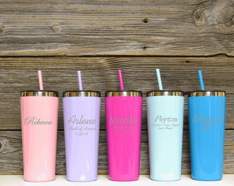 Stainless Steel Tumblers / Tumbler with straw / Colored Stainless Cup / Mommy's sippy cup / Drink Cup / Travel Mug / Personalized Tumbler