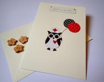 Get Well Card - Handmade Get Well Card - Handmade greeting Card - Owl Get Well Card - Handmade Owl Card - Owl Card - Cute Get Well Card