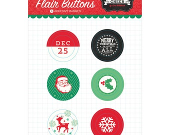Echo Park Flair Buttons - Christmas Cheer