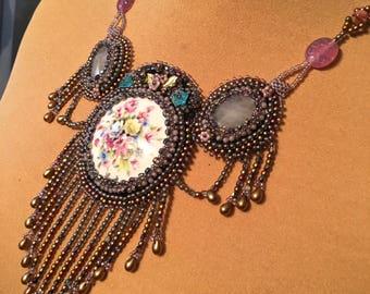 Limoges porcelain and quartz bib necklace pink