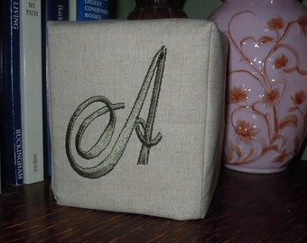 "Monogrammed Linen Tissue Box Cover -  Madison-10772  Monogram ""A""  Made To Order"
