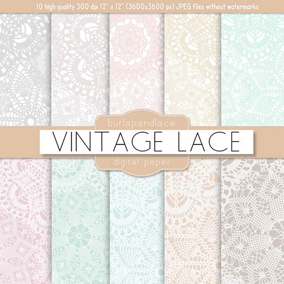 Vintage Lace Pattern Digital Patter Background