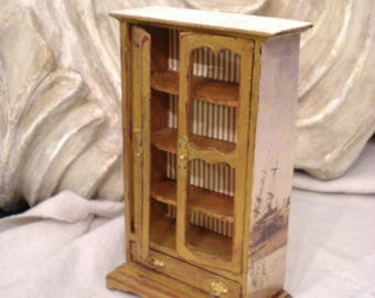 Miniature French Armoire Gold Hutch Unique Distressed Detail Magical VintagePatina 1 inch scale Fun 1 of a Kind FREE Ship in USA