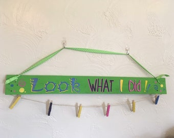 look what I did, wall hanging, hand made, reclaimed wood, hand painted, kids art, fun decor, home decor