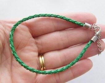 4 Green leather bracelets 24cm x 3mm