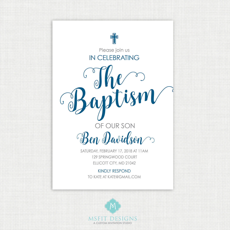 Printable Communion Invitation- Watercolor - Boy Baptism Invitation ...