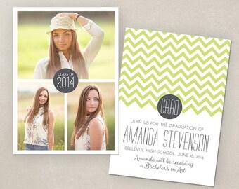 Senior Graduation Announcement Template for Photographers PSD Flat card - Modern Chevron CG009