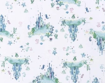 SALE !!!! Life Aquatic, Underwater Castle Cotton Woven, Dear Stella