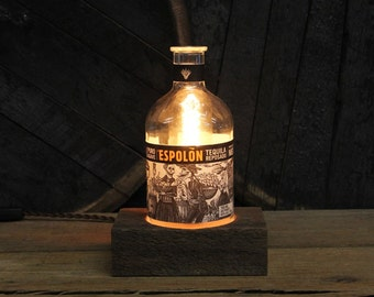 Espolon Tequila Bottle Desk Lamp - Features Reclaimed Wood Base, Edison Bulb, Twisted Cloth Wire, Father's Day Gift, Upcycled Light