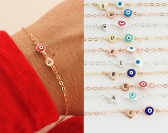 Initial eye bracelet  - NEW - tiny evil eye bracelet -tiny charms -  mini evil eye - gift for woman - personalized gift