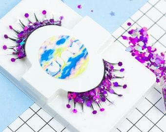 Glitter Eyelashes, Purple Glitter, Fairy Costume, Fancy Dress, False Eyelashes, Unicorn Makeup, Lashes, Festival Makeup, Face, FREE Glitter