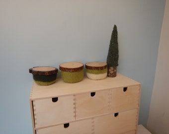 Lidded Wool Bowls - Set of 3:  Greens