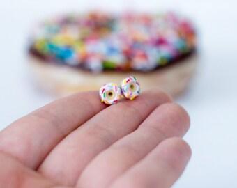 Pink Donut Earrings Cute Earrings Pink Stud Earrings