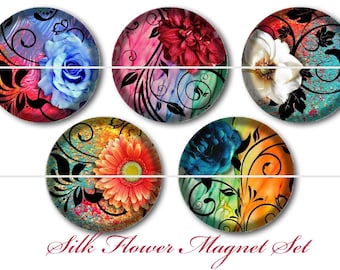Silk Flower Magnets, Silk Flower Pins, Filigree Flower Magnets, Floral Magnets, Floral Cabochons, Silk Floral Flatback, Fancy Florals