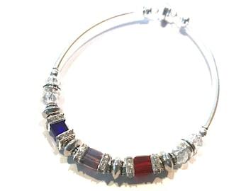 Custom Mother's Birthstone Bracelet, silver plated,  6mm Square Swarovski crystal bracelet