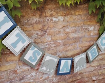 Elephant Baby Shower Banner, Baby Boy Shower Banner, Blue Shower Banner, Elephant Banner,Elephant Baby Shower Decoration
