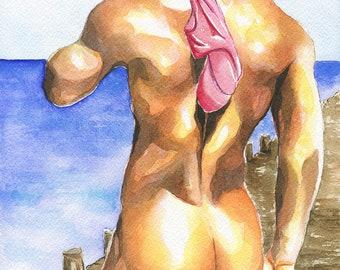 """Print of Original Artwork Watercolor Painting Erotic Male Man Nude Gay """"At the pier"""""""