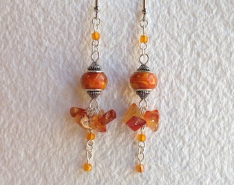 Carnelian and glass drop earrings