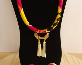 African Rope Necklace, Ankara Wax Fabric, 2 Options