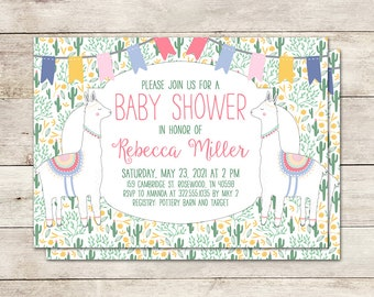 Llama Baby Shower Invitation, Fiesta Baby Shower, Cactus Invitation, Fiesta Invitation, Baby Shower Girl, 5x7 inch invitation, Printable