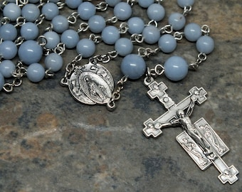 Gemstone Rosary of Angelite, Adoring Angels Rosary, 5 Decade Rosary, Catholic Rosary, Miraculous Medal, Angelite Rosary