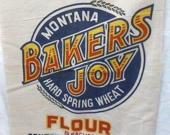 BAKERS JOY Flour Sack ~Vintage Advertising ~ Colorful ~ fabric ~ Bakers Joy ~ Primitive Farmhouse Country decor ~
