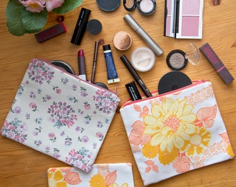 Retro Pink Floral / Orange Floral Recycled Fabric Make-Up / Accessory Cases