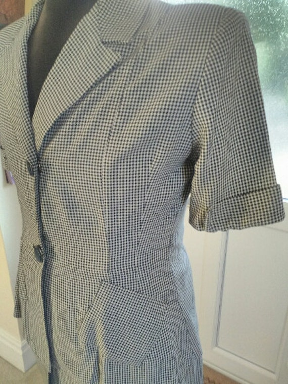 suit navy houndstooth piece skirt set and 1940s 40s summer suit white two check qndUC8