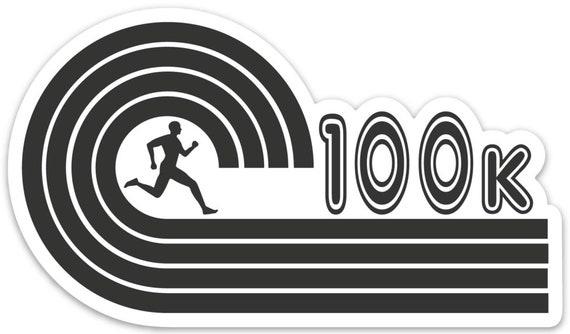 100K Runner Sticker - Vinyl Die Cut Sticker - Ultra Running Stickers - Run 100K - Car Stickers