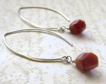 Salmon pink beaded earrings faceted czech glass beads on long sterling silver earwires