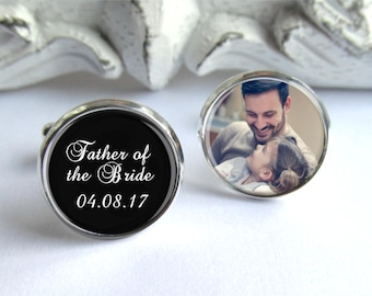 Father Of The Bride Cufflinks, Personalized Photo Cufflinks, Custom Wedding Cufflinks